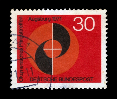 bundespost: GERMANY - CIRCA 1971  a stamp printed in the Germany shows emblem of congress, ecumenical meeting at pentecost of the german evangelical and catholic churches, Augsburg, circa 1971