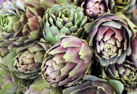 freshly artichoke as agricultural background Stock Photo
