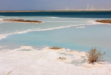 landscape on the dead sea, salt deposits, Israel