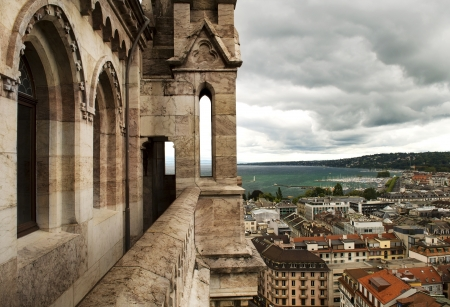 view of Geneva from the height of the north tower of the Cathedral of Saint-Pierre, Switzerland