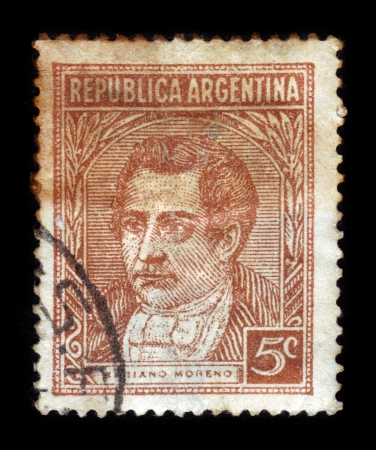 mariano: ARGENTINA - CIRCA 1935: A stamp printed in Argentina shows portrait of Mariano Moreno journalist and politician, from the series Famous Argentines, circa 1935