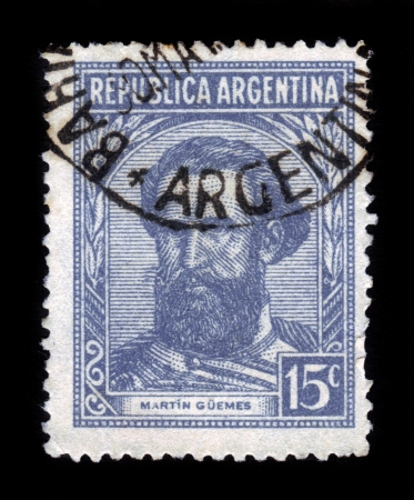 ARGENTINA - CIRCA 1935: A stamp printed in Argentina, shows portrait of Martin Miguel de Guemes (1785-1821) a military leader and popular caudillo, circa 1935