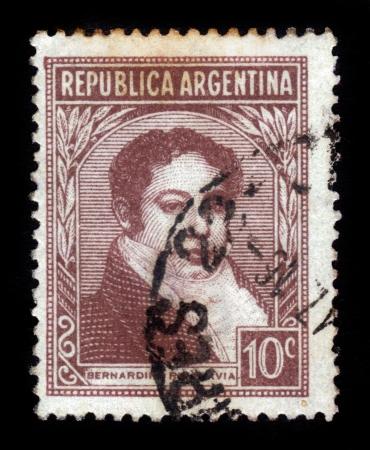 bernardino: ARGENTINA - CIRCA 1935: a stamp printed in the Argentina shows Bernardino Rivadavia, The First President of Argentina, circa 1935