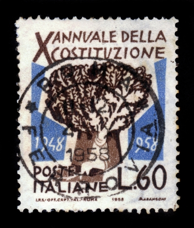 ITALY - CIRCA 1958: A stamp printed in the Italy shows Tree of Freedom, honoring X anniversary of Italian constitution, circa 1958