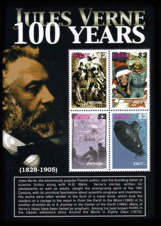DOMINICA - CIRCA 2005: A post stamp is printed in the Dominica devoted to the 100 anniversary of the death of Jules Verne, depicts an illustration of his novel, circa 2005