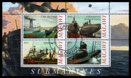 MALAWI - CIRCA 2010  collection stamps printed in Malawi shows submarines including German U-boats, circa 2010 photo
