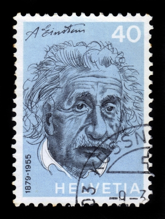 SWITZERLAND - CIRCA 1972  A stamp printed in Switzerland shows Albert Einstein  1879-1955 , physicist, theory of general relativity, circa 1972