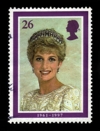 prince charles of england: UNITED KINGDOM - CIRCA 1998  A  stamp printed in United Kingdom showing portrait of Diana, Princess of Wales, circa 1998  Editorial