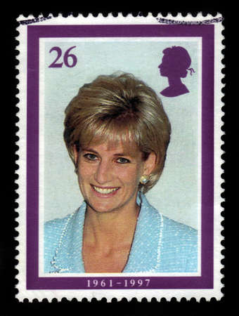 lady diana: UNITED KINGDOM - CIRCA 1998  A  stamp printed in United Kingdom showing portrait of Diana, Princess of Wales, circa 1998  Editorial
