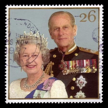 royal wedding: UNITED KINGDOM - CIRCA 1997  stamp printed in United Kingdom showing  Queen Elizabeth II and Duke of Edinburgh Prince Philip, celebrating the golden anniversary of the royal wedding, circa 1997