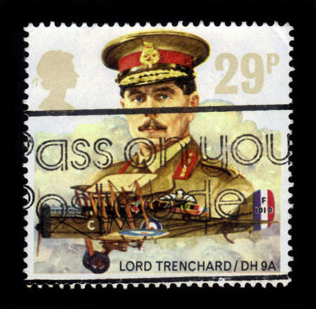 royal air force: UNITED KINGDOM - CIRCA 1986  a stamp printed in Great Britain shows marshal of the royal air force Hugh Montague Trenchard, 1st Viscount Trenchard, circa 1986