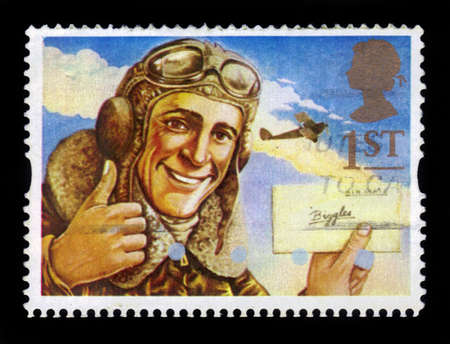 UNITED KINGDOM - CIRCA 1994  A stamp printed in Great Britain shows the comic hero, character of classic children s story - Biggles, circa 1994