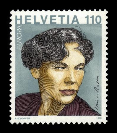 jurist: Switzerland - CIRCA 1996  a stamp printed in Switzerland shows portrait of Iris von Roten Meyer  1917-90  swiss journalist, writer, feminist, painter and jurist, circa 1996