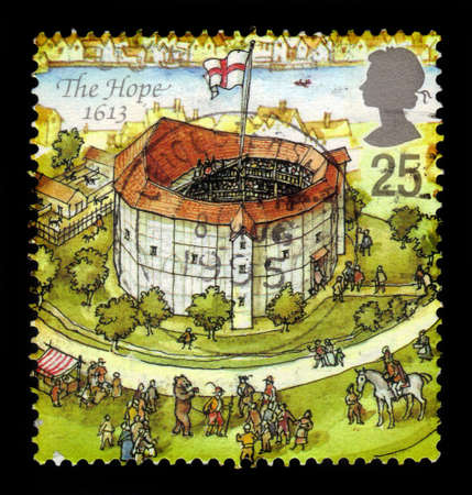 globe theatre: UNITED KINGDOM - CIRCA 1995  A stamp printed in Great Britain dedicated to Reconstruction of Shakespeares Globe Theatre, shows the hope, 1613, circa 1995