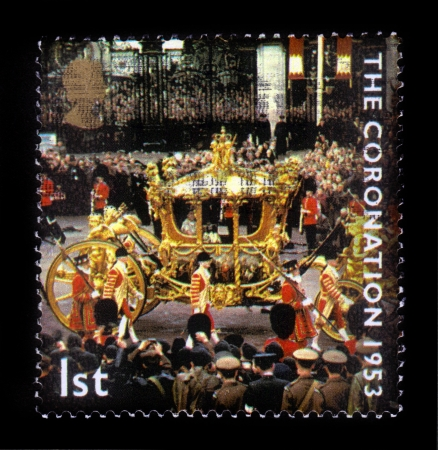 duke: UNITED KINGDOM - CIRCA 2003  stamp printed in Great Britain shows coronation of Queen Elizabeth 2nd, celebrating the 50th Anniversary of the Coronation in 1953 of , circa 2003