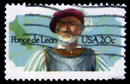 conquistador: USA - CIRCA 1982  A stamp printed in United States of America shows Juan Ponce de Leon - Spanish explorer and conquistador  He became first Governor of Puerto Rico by appointment of Spanish crown Editorial