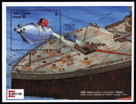 Turks and Caicos Islands - CIRCA 1996  a postage stamp printed in Turks and Caicos Islands showing an image of sunken cruise liner Titanic and underwater vehicle its explores, circa 1996