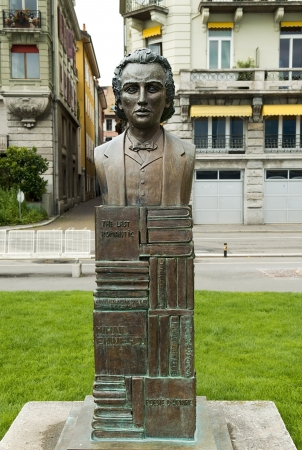 vevey: VEVEY, Switzerland - September 01  monument in bronze to romanian poet Mihai Eminescu  1850-1889 , set on the walk of fame in 2000 with support of  romanian embassy in Vevey in Switzerland on September 01, 2012