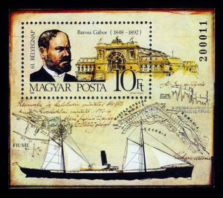 statesman: HUNGARY - CIRCA 1988  A stamp printed in Hungary shows Gabor Baross  1848�1892 , hungarian statesman and minister of ways and communications,  circa 1988