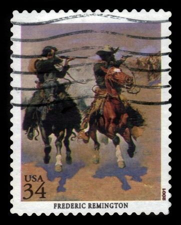 frederic: USA - CIRCA 2001  A stamp printed in the USA shows fragment of a picture by Frederic Remington   A Dash for the Timber  , american sculptor, circa 2001
