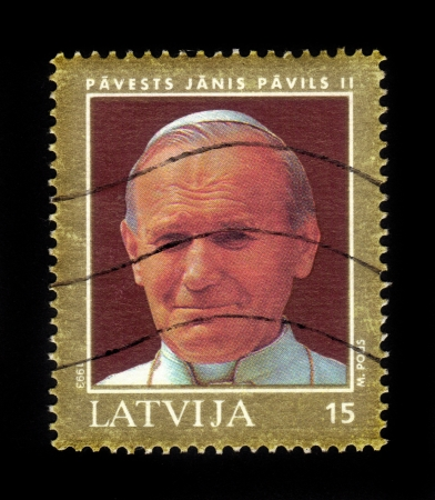 beatification: Latvia - CIRCA 1993  a postage stamp printed in Latvia showing an image of pope John Paul II, circa 1993