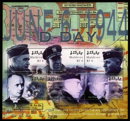 world wars: MALDIVE ISLANDS - CIRCA 2004  A souvenir sheet printed in MALDIVE ISLANDS shows portraits of military leaders from World War II, D-Day  June 6, 1944, circa 2004 Editorial