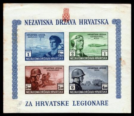 fascist: CROATIA - CIRCA 1944  stamp printed in Croatia, shows croatian legions in the fascist army on eastern front , circa 1944