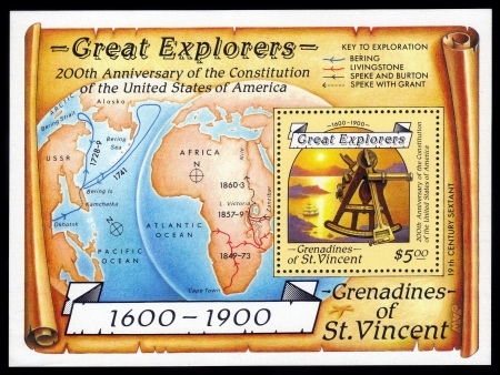 Saint Vincent and the Grenadines - CIRCA 1988  souvenir sheet printed in Saint Vincent and the Grenadines, shows sextant , dedicated to the 200th anniversary of Constitution of the USA, circa 1988
