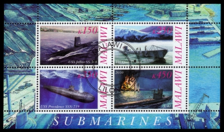 MALAWI - CIRCA 2010  collection stamps printed in Malawi shows different submarines, circa 2010