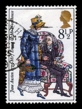 jane: UNITED KINGDOM - CIRCA 1975  A stamp printed in United Kingdom shows emma and mr  woodhouse by Jane Austen, circa 1975