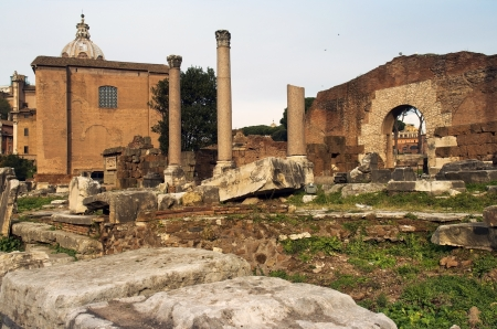 the ancient ruins of Rome, the Forum Romano, Italia photo
