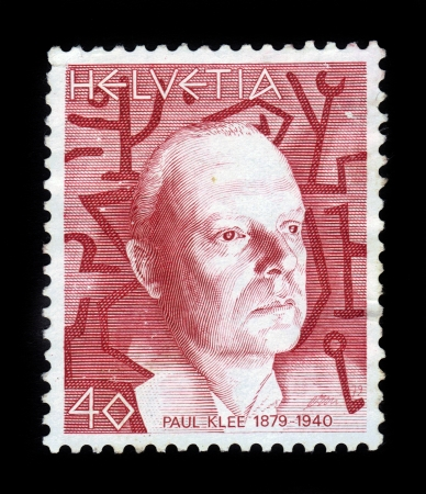 SWITZERLAND - CIRCA 1990  A stamp printed in Switzerland shows Paul Klee, german and swiss painter, graphic artist, art theorist, one of the leading figures of the European avant-garde, circa 1990