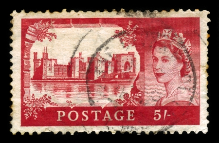 UNITED KINGDOM - CIRCA 1955  A stamp printed in United Kingdom shows Caernarfon Castle and queen Elizabeth II, from the  Castles  series , circa 1955