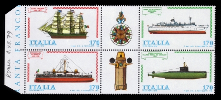 ITALY - CIRCA 1979  a stamp printed in the Italy shows shipbuilding from the 19th century to the present day, circa 1979
