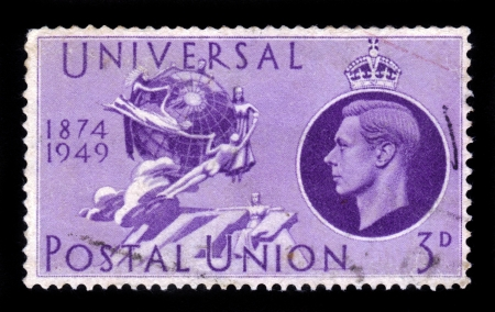 upu: UNITED KINGDOM - CIRCA 1949  A stamp printed in England, is dedicated to the 75th anniversary of the UPU   universal postal union  , shows the UPU Monument in Bern, circa 1949