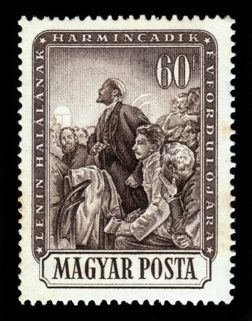 HUNGARY - CIRCA 1954  stamp printed by Hungary, shows Lenin and Stalin at meeting with the workers and peasants, circa 1954 Editorial