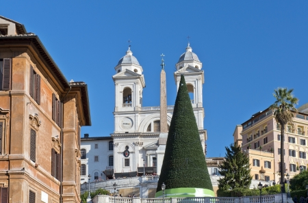 spanish steps: Christmas tree, obelisk and church on top of the spanish steps in Rome, Italy Stock Photo
