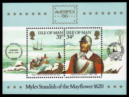 conquistador: ISLE OF MAN - CIRCA 1986  A stamp printed in GREAT BRITAIN  shows captain Myles Standish of the Mayflower, devoted to Ameripex  86 international stamp exhibition, Chicago, circa 1986