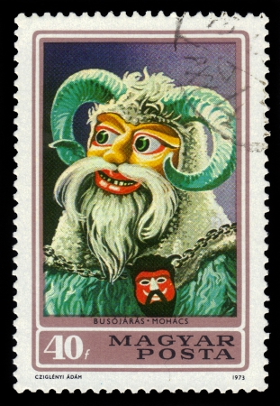 Hungary- CIRCA 1973  A stamp printed in Hungary, shows a Busojaras from town Mohacs, from the series  buso masks , circa 1973