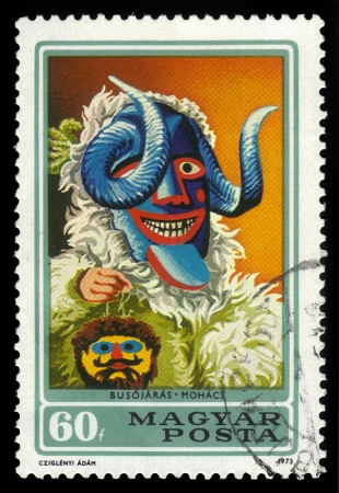 farsang: Hungary- CIRCA 1973  A stamp printed in Hungary, shows a Busojaras from town Mohacs, from the series  buso masks , circa 1973