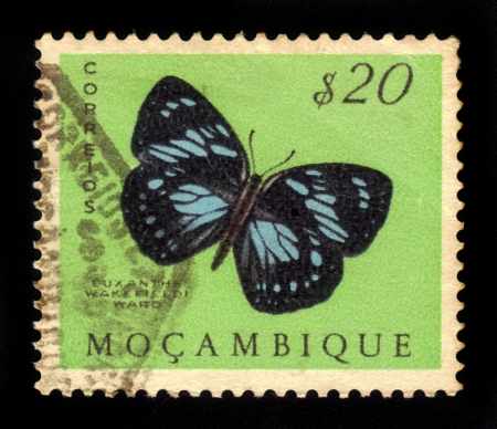 MOZAMBIQUE - CIRCA 1953  A stamp printed in Mozambique, shows a african butterfly forest queen  euxanthe wakefieldi , from the series  butterflies and moths , circa 1953  photo