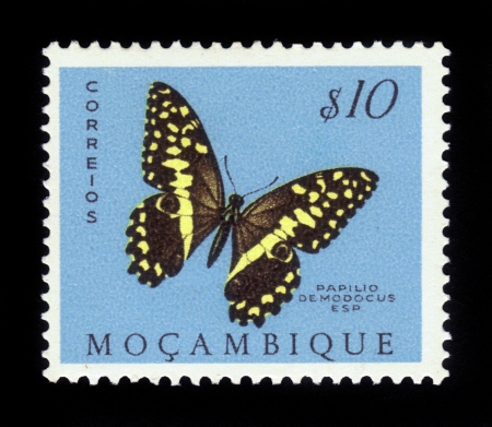 estampilla: MOZAMBIQUE - CIRCA 1953  A stamp printed in Mozambique, shows a african butterfly papilio demodocus, also known as the citrus swallowtail, from the series  butterflies and moths , circa 1953  Stock Photo