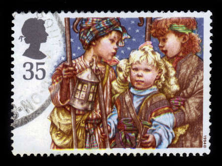 GREAT BRITAIN - CIRCA 1994  a stamp printed in the Great Britain shows Christmas  Children s Nativity Plays - Shepherds, Christmas Card, circa 1994 Stock Photo - 21595577