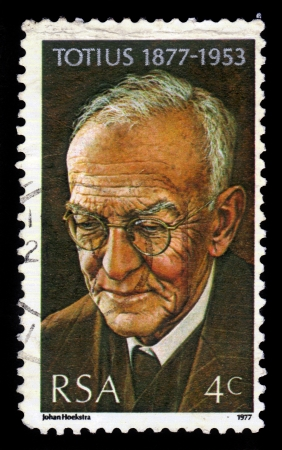 SOUTH AFRICA - CIRCA 1977  a stamp printed in South Africa shows Dr  Jacob Daniel du Toit, Totius, Theologian, Educator and Poet, circa 1977 Stock Photo - 21795066