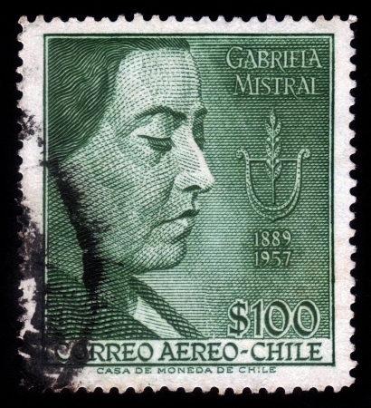 CHILE - CIRCA 1958  A stamp printed in Chile shows poetess, Nobel Prize Winner Gabriela Mistral, circa 1958