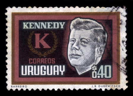 URUGUAY - CIRCA 1965  stamp printed by Uruguay, shows John Kennedy, 35th President of the United States, circa 1965 photo