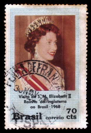 BRAZIL - CIRCA 1968  A stamp printed in Brazil shows Elizabeth II, Queen of England, visit of Her Majesty in Brazil, circa 1968 Stock Photo - 21888998