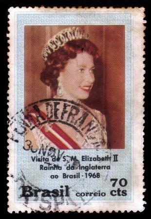 queen elizabeth ii: BRAZIL - CIRCA 1968  A stamp printed in Brazil shows Elizabeth II, Queen of England, visit of Her Majesty in Brazil, circa 1968