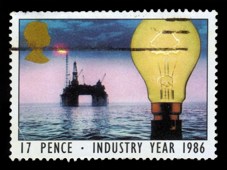UNITED KINGDOM - CIRCA 1986  A stamp printed in United Kingdom shows  North Sea oil platform and light bulb, with inscriptions  Industry Year, 1986 , circa 1986
