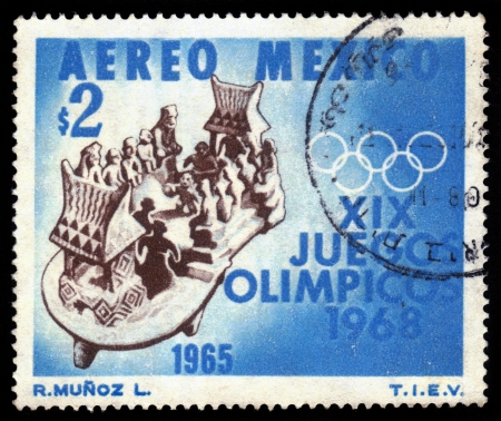 ancient olympic games: Mexico - CIRCA 1965  a stamp printed by Mexico shows a clay toy depicting old game with ball of the ancient aztecs  devoted to Olympic Games in Mexico in 1968, circa 1965